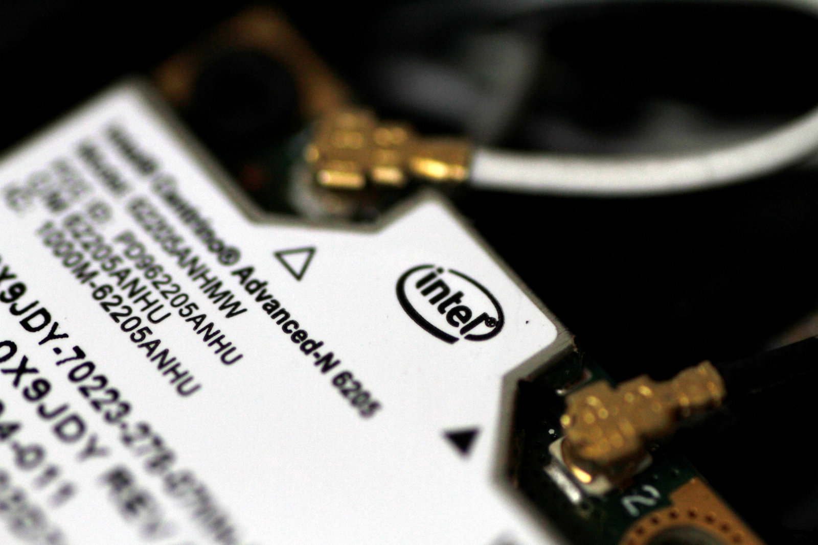 An Intel WLAN wifi component inside a laptop is seen in this illustration photo June 21, 2017.   REUTERS/Thomas White/Illustration