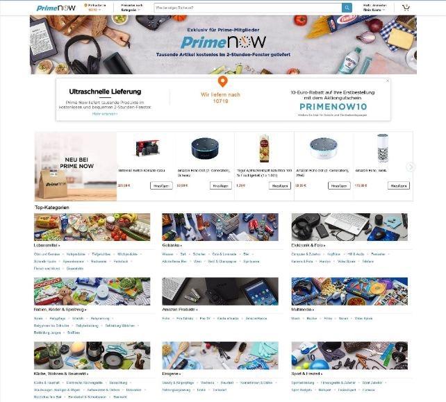 Amazon Prime Now: Schnelllieferungen jetzt auch über den Browser bestellbar
