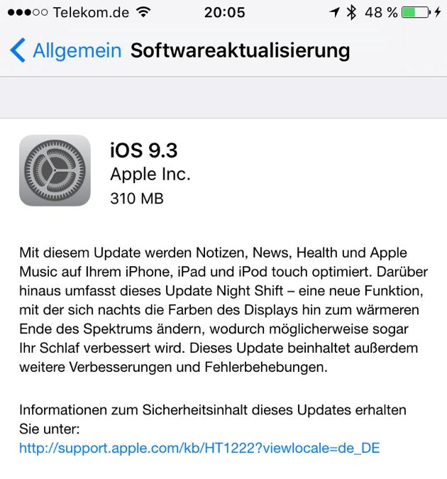 Download von iOS 9.3 steht bereit