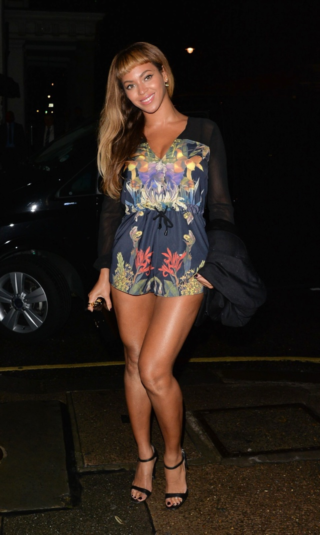 Beyonce dons floral playsuit for night out in London with Adele