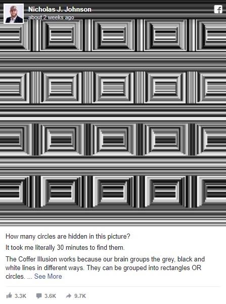 この長方形の中に円はいくつ隠れている?