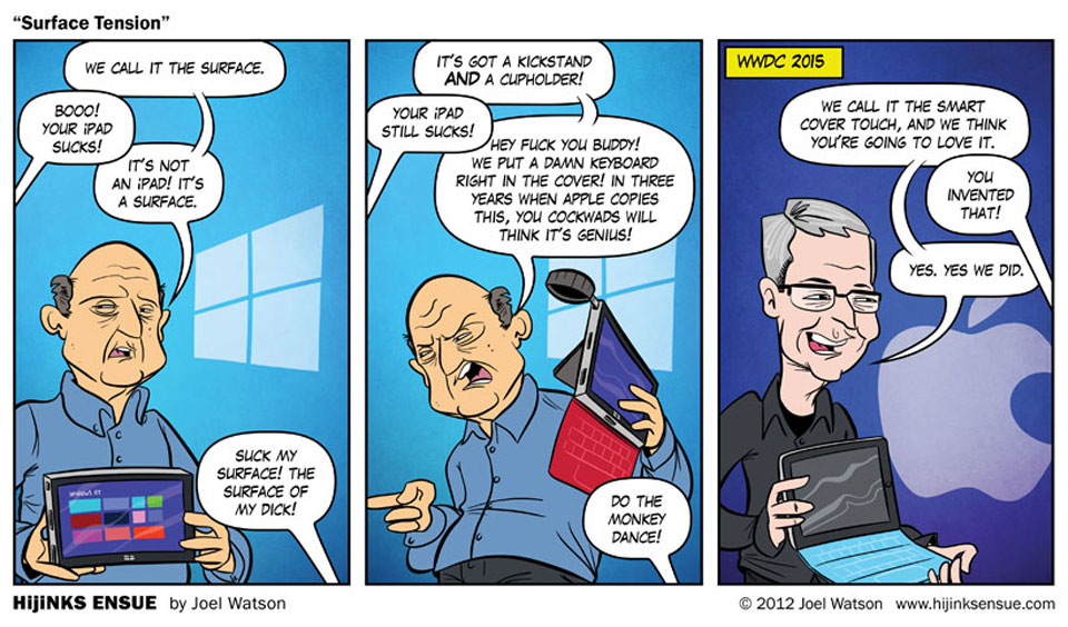 Joel Watson's eerily prescient comic on the iPad keyboard