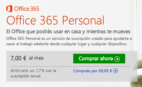 Office 365 Personal ya disponible por 7 euros al mes