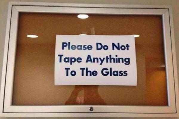 funny ironic photos, irony photos, ironic tape to glass