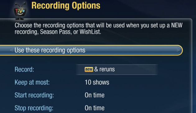 Default recording options in TiVo's spring DVR update