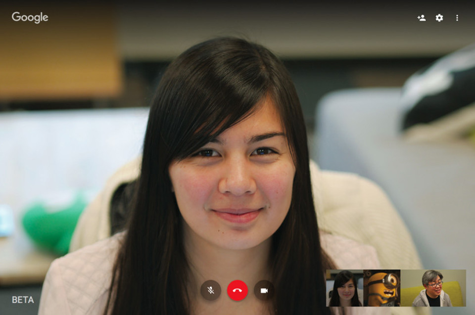 Hangouts' new video call look on the web