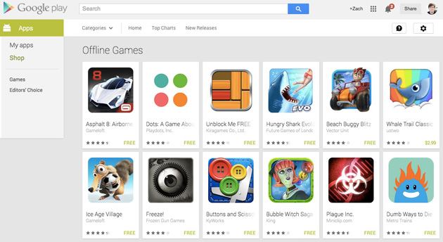 La tienda Google Play ahora cuenta con una sección para juegos offline