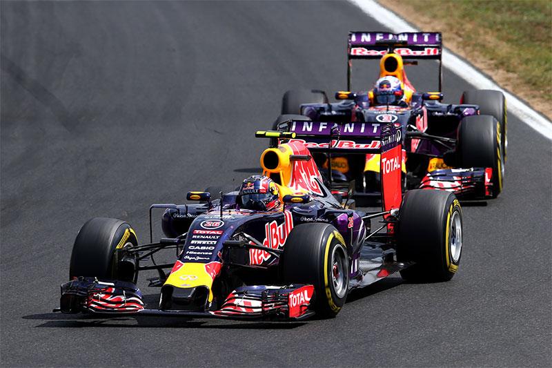 Daniil Kvyat drives ahead of his teammate at the 2015 Hungarian Grand Prix.