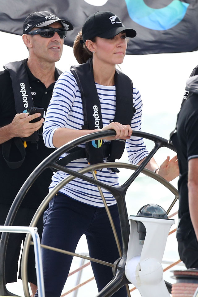 AUCKLAND, NEW ZEALAND - APRIL 11:  Catherine, Duchess of Cambridge is seen racing the New Zealand's Americas Cup Team yacht during their visit to Auckland Harbour on April 11, 2014 in Auckland, New Zealand. The Duke and Duchess of Cambridge are on a three-week tour of Australia and New Zealand, the first official trip overseas with their son, Prince George of Cambridge.  (Photo by Danny Martindale/WireImage)