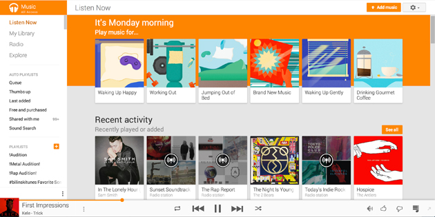 Google Play Music's new web design