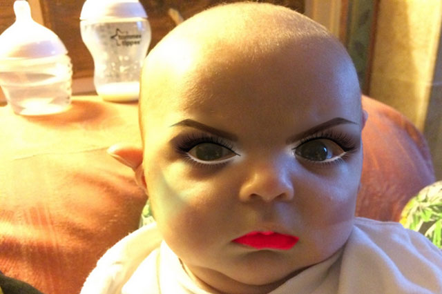 Mum gives newborn disturbing - yet hilarious - makeover