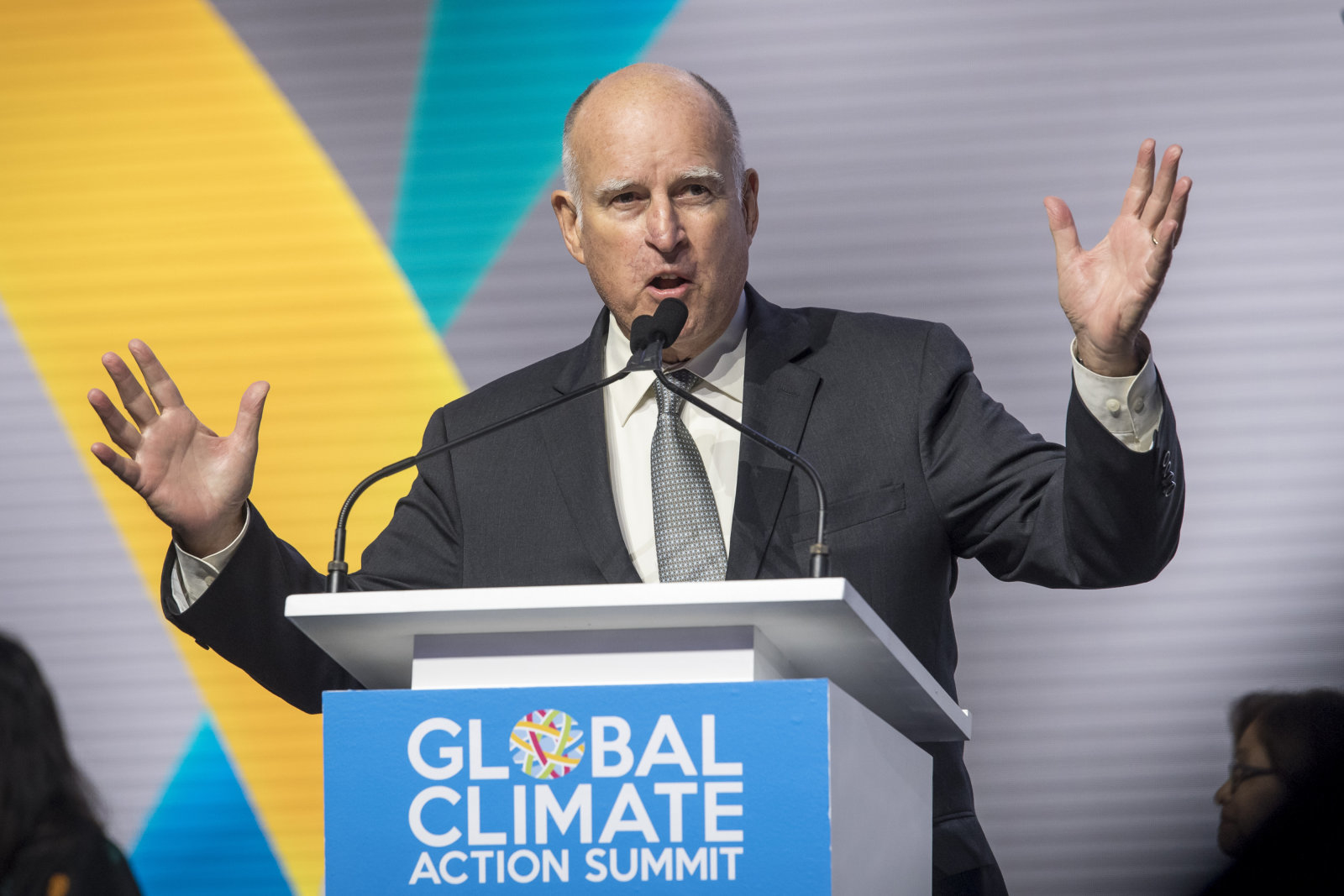 Jerry Brown, governor of California, speaks during the Global Climate Action Summit in San Francisco, California, U.S., on Friday, Sept. 14, 2018. The Global Climate Action Summit brings together industry and political leaders working on improving the conditions and concerns facing climate in the world today. Photographer: David Paul Morris/Bloomberg via Getty Images