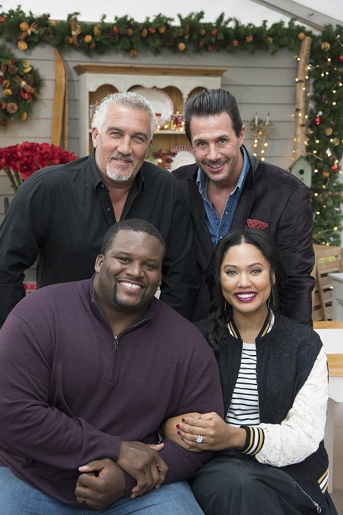 "THE GREAT AMERICAN BAKING SHOW - Coverage. (ABC/Mark Bourdillion) PAUL HOLLYWOO, ANTHONY ""SPICE"" ADAMS, JOHNNY IUZZINI, AYESHA CURRY"