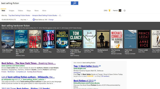 Bing now recommends best-sellers for you to read