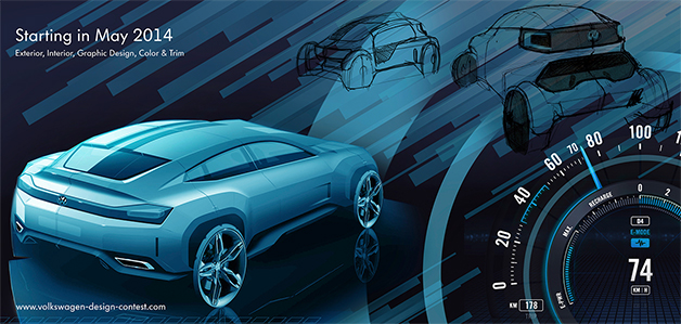 Graphic to promote Volkswagen's design contest, seeking help to create a concept car for a video game.
