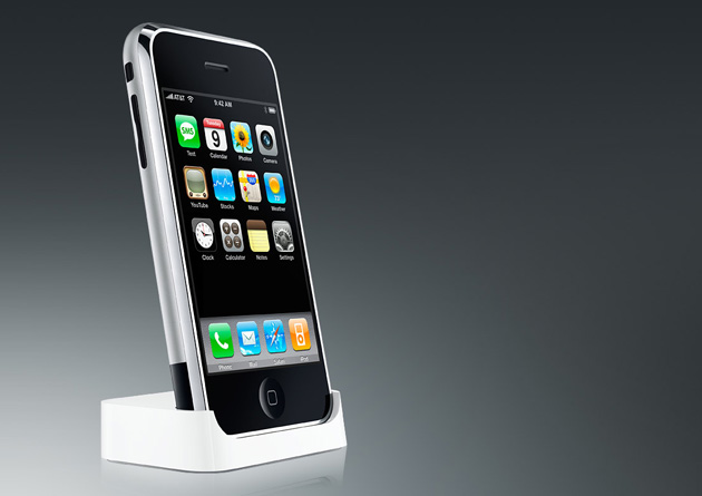 Original Apple iPhone in a dock