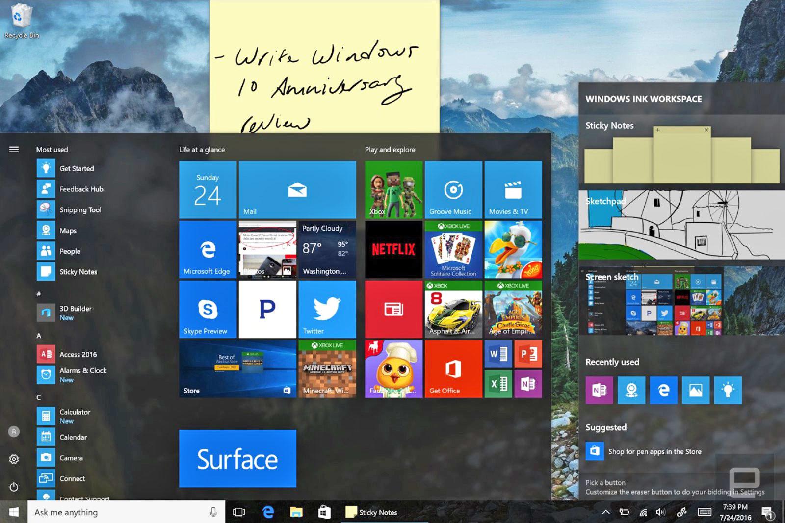 La actualización Aniversario de Windows 10 ya está aquí