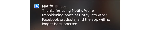 Facebook kills its little-known Notify app