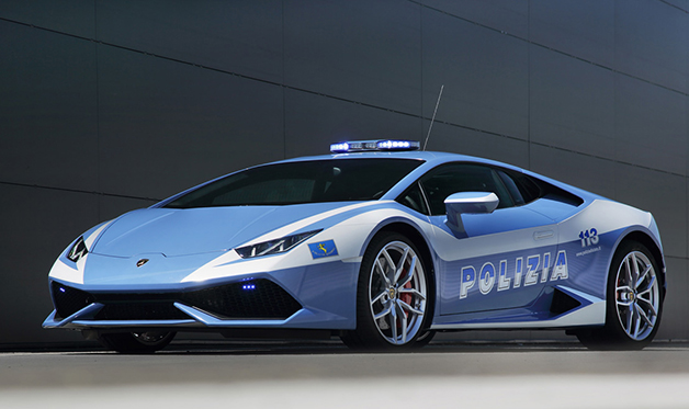 A Lamborghini Huracan LP 610-4 donated to the Italian State Police.