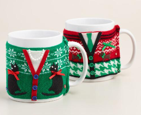 ugly sweater vest mugs set of 2 for hostess gift