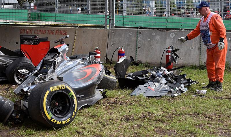 The aftermath of a crash between Fernando Alonso and Esteban Gutierrez at the 2016 Australian F1 Grand Prix.