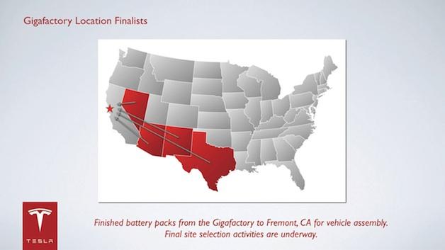 Tesla Gigafactory finalist states