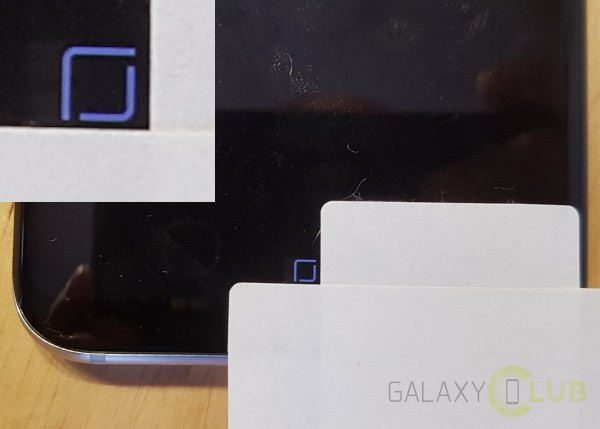 A Galaxy S8's Home button is carefully measured to see it's subtle movement.