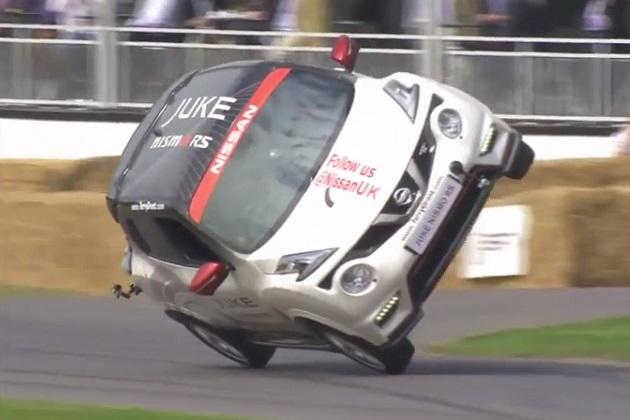 【ビデオ】日産「ジュークNISMO RS」が片輪走行の世界記録を樹立!