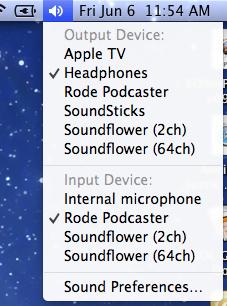 Mac OS sound options