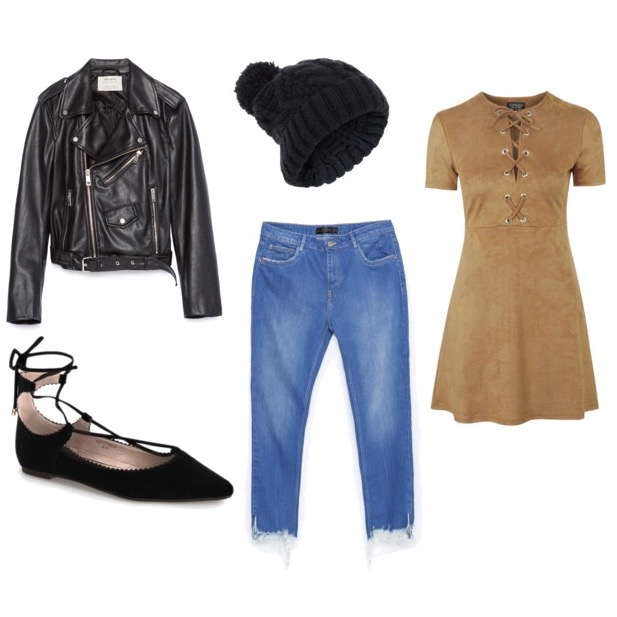 Dress over pants layered fall outfit