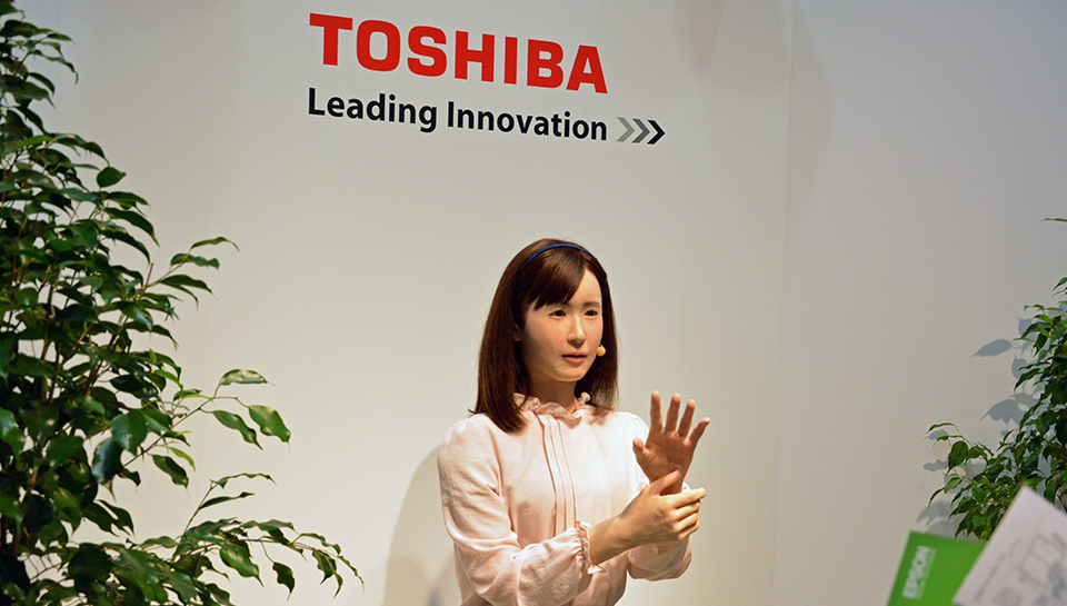 Toshiba's new android 'employee' uses sign language, speaks Japanese