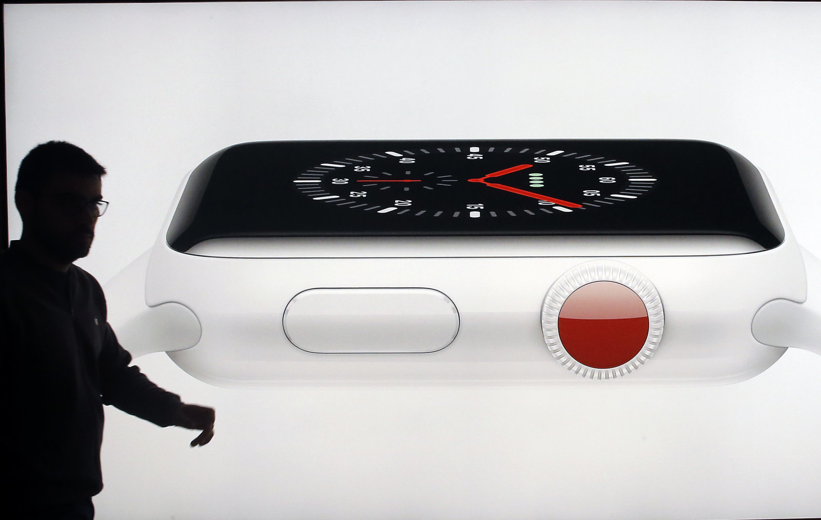 PARIS, FRANCE - NOVEMBER 03:  A signage for an Apple Watch Series 3 is displayed inside the Apple Store Saint-Germain, the day of the launch of the Apple iPhone X, the new model of Apple smartphone at the Apple Store Saint-Germain on November 3, 2017 in Paris, France. Apple's latest iPhone X features face recognition technology, a large 5.8-inch edge-to-edge high resolution OLED display and better front and back cameras with optical image stabilisation.  (Photo by Chesnot/Getty Images)