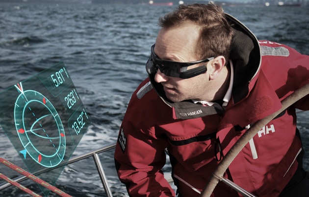 Afterguard heads-up display for sailing