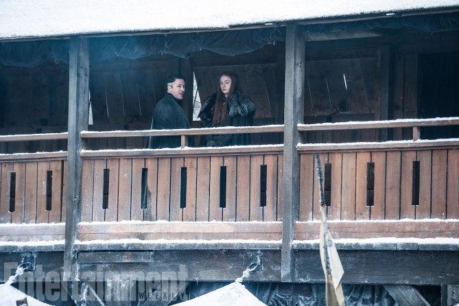 Game of Thrones Behind the Scenes Season 7, Episode TK L-R: Aidan Gillen as Petyr 'Littlefinger' Baelish and Sophie Turner as Sansa Stark