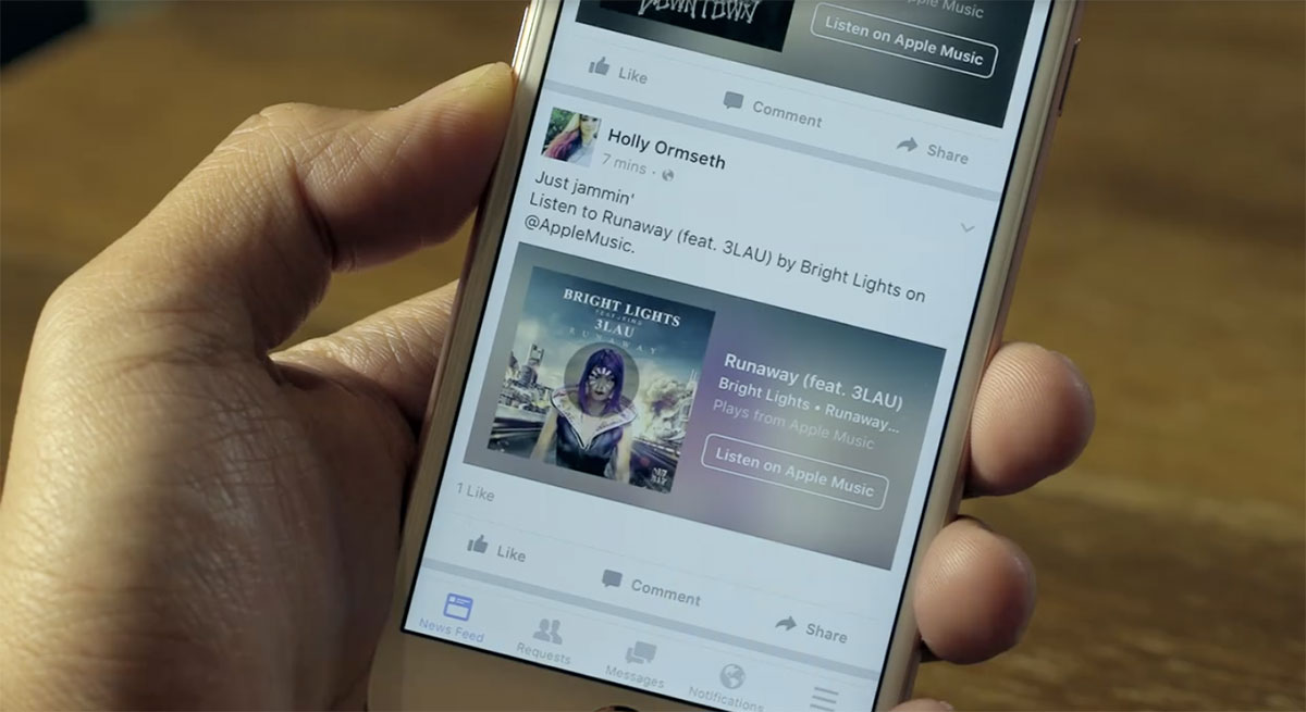Facebook 'Music Stories' preview Apple Music and Spotify tracks