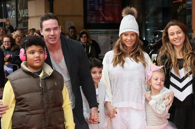 Katie with Kieran and her children alongside friend Jane Pountney