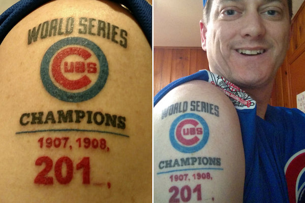 Cubs Fan Gets World Series Tattoo A Tad Early