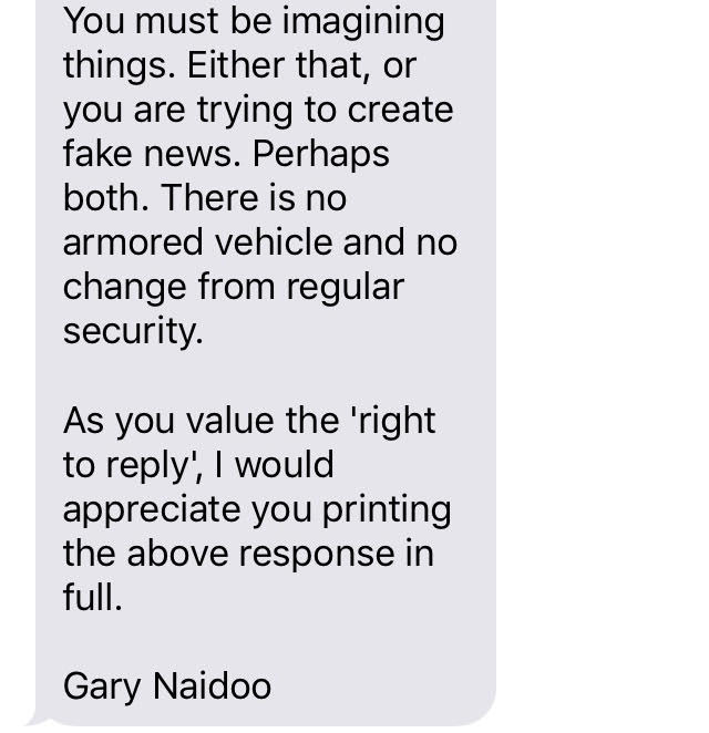 Who removed Gupta's armoured vehicle under the cover of darkness? - Kobus Marais