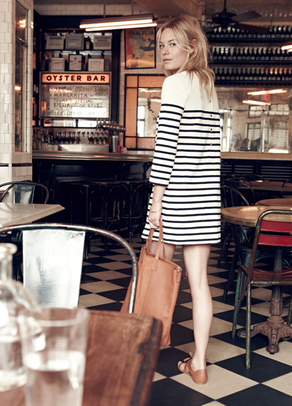 Madewell x Sezane striped dress and leather bag
