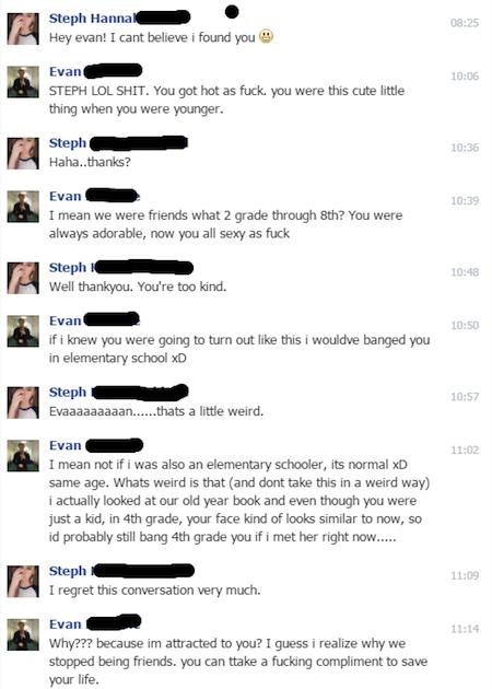 cringeworthy text exchanges, creepy texts, sleazy texts, creepy facebook reconnect