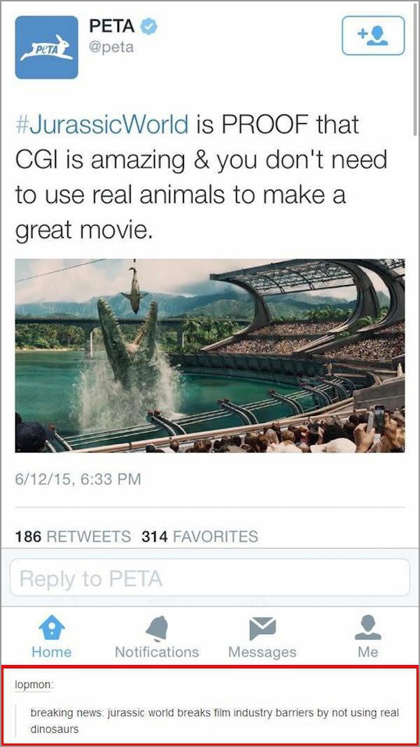 people getting called out on the internet, people called out on their bs, peta jurassic world cgi no real dinosaurs