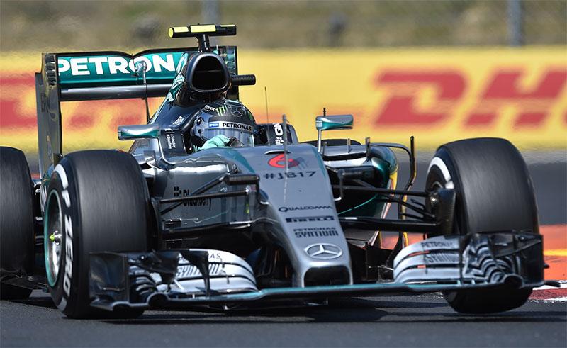 Nico Rosberg drives during the 2015 Hungarian Grand Prix.