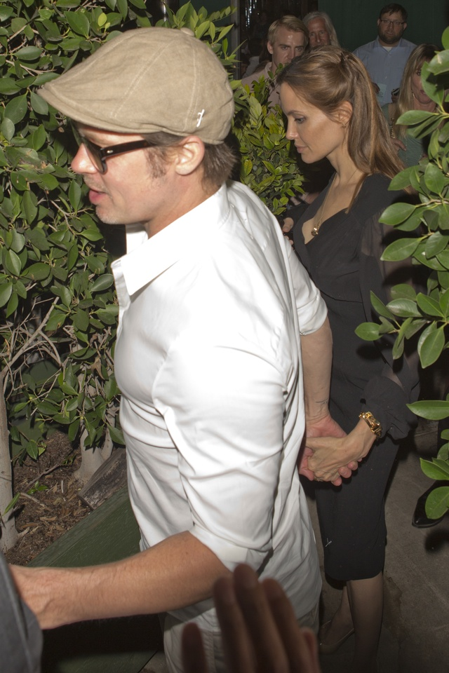 Brad Pitt and Angelina Jolie date night at AGO restaurant in West Hollywood