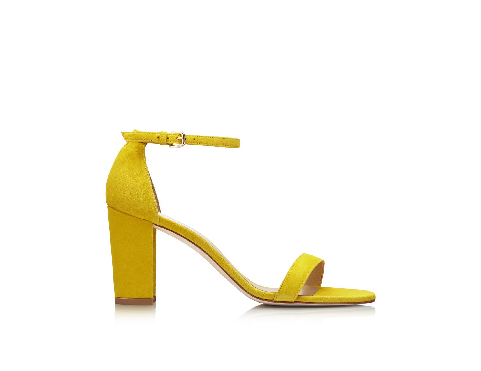 Stuart Weitzman yellow NearlyNude sandal for Pencils of Promise