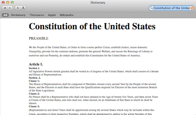 US Constitution in the OS X Dictionary App