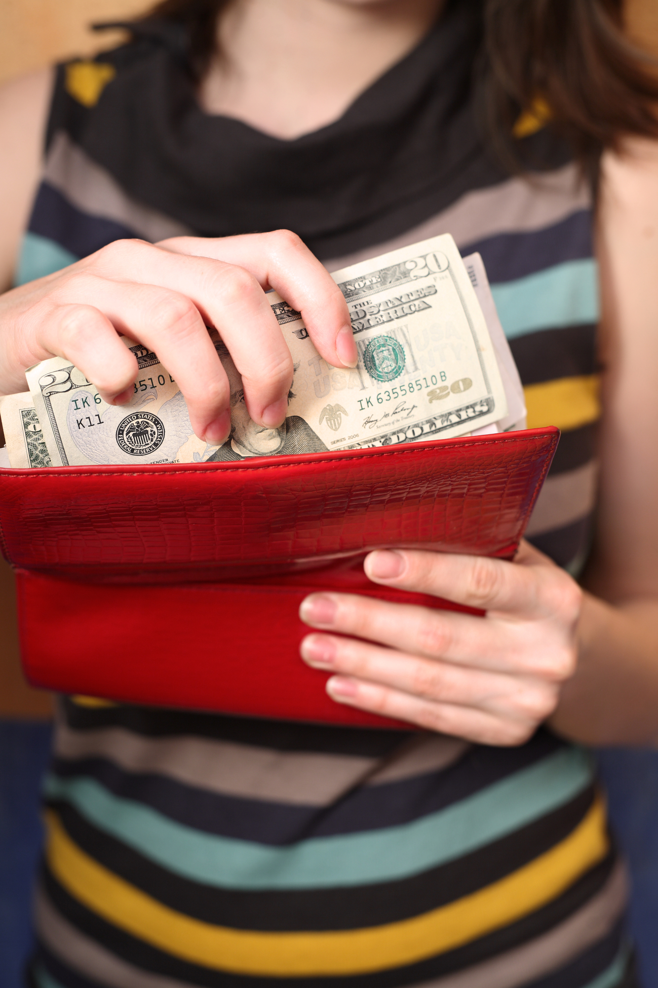 Female hands get money from a purse