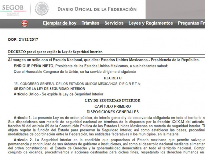 AI insta al Gobierno de México a vetar Ley de Seguridad Interior