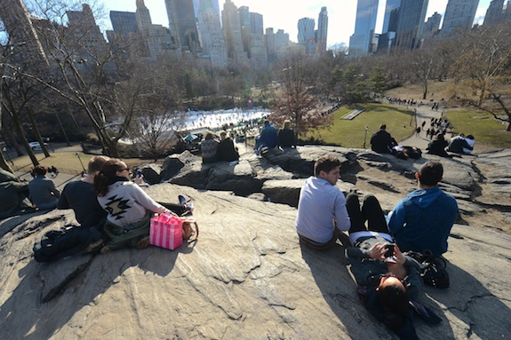 NEW YORK, NY - MARCH 15: New Yorkers enjoy the sun in Central Park on March 15, 2014 in Manhattan, New York, USA. (Photo by Cem Ozdel/Anadolu Agency/Getty Images)