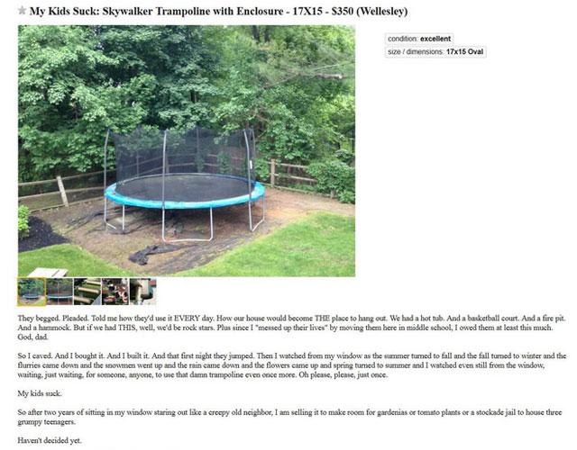 craigslist dad sells trampoline