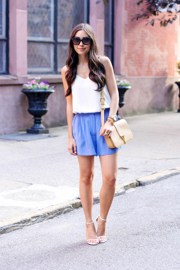 blue silk summer shorts zimmerman